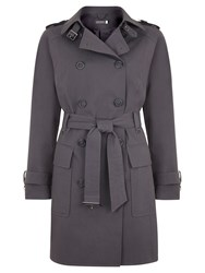 Mint Velvet Cotton Blend Trench Coat Grey Smoke
