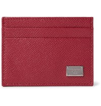 Dolce And Gabbana Pebble Grain Leather Cardholder Red
