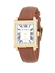 Bruno Magli Goldtone Stainless Steel And Leather Strap Watch