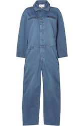 Current Elliott The Penny Cotton Twill Jumpsuit Blue