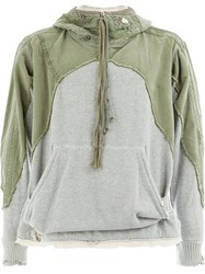 Greg Lauren Panelled Sweatshirt Green