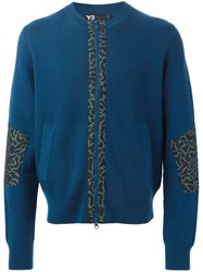 Y 3 Print Trim Zip Sweater Blue