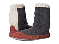 Acorn Slouch Boot Charcaol Ragg Wool Men's Slippers Black