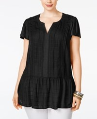 American Rag Plus Size Linen Ruffled Peplum Top Only At Macy's Classic Black