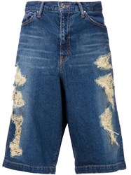Wvm Loose Fit Ripped Denim Shorts Blue