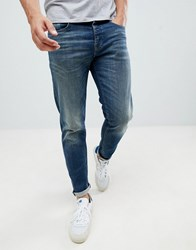 Selected Homme Washed Blue Jeans In Tapered Fit Dark Blue Denim