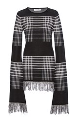 Prabal Gurung Long Sleeve Plaid Knit Black White