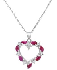 Victoria Townsend Sterling Silver Necklace Ruby And White Topaz Heart Pendant 1 5 8 Ct. T.W.
