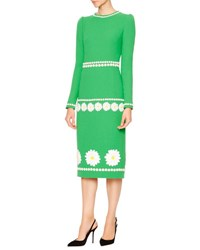 Dolce And Gabbana Long Sleeve Daisy Wool Crepe Dress Grass Green