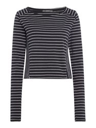 Replay Striped Boat Neck T Shirt Multi Coloured Multi Coloured