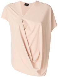 Lost And Found Ria Dunn Short Sleeve Draped Blouse Nude And Neutrals