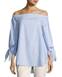 Tahari By Arthur S. Levine Off The Shoulder Shirting Blouse Blue White