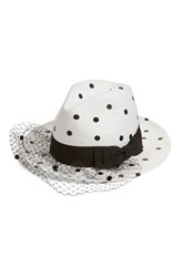 Women's Helene Berman Veiled Polka Dot Woven Fedora