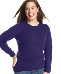 Charter Club Plus Size Cashmere Crew Neck Sweater In 14 Colors Only At Macy's Wine Frost