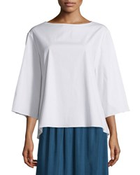 The Row 3 4 Sleeve Boxy Stretch Cotton Top White