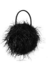 Loeffler Randall Zadie Feather Embellished Leather Tote Black