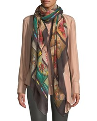 Stella Mccartney Floral Graphic Fringe Silk Scarf Multicolor