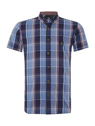 Duck And Cover Cryer Short Sleeve Large Check Shirt French Navy