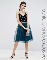 True Decadence Petite All Over Tulle Full Midi Skirt Teal Green