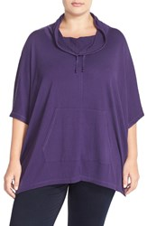 Sejour Drawstring Cowl Neck Poncho Top Plus Size Purple Vine