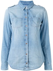Calvin Klein Jeans Slim Fit Denim Shirt Women Cotton S Blue