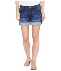 Jag Jeans Alex Boyfriend Laser Printed Mission Denim Shorts In Rapid Dark Rapid Dark Bandana Women's Shorts Blue