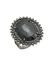 Bavna Black Spinel And Sterling Silver Faceted Cocktail Ring