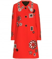 Marc Jacobs Embellished Wool Coat Red