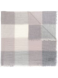 D.Exterior Checked Patchwork Scarf Grey