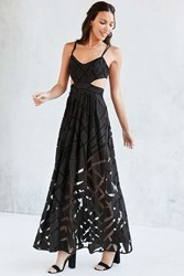 Silence And Noise Silence Noise Savannah Geo Mesh Maxi Dress Black