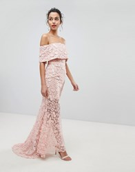 Jarlo All Layered Bardot All Over Embroidered Lace Maxi Dress Pink