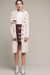 Anthropologie Asymmetrical Wool Sweater Coat Cream