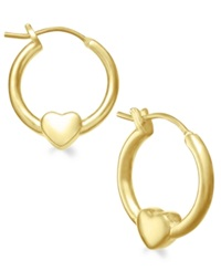 Lily Nily Children's 18K Gold Over Sterling Silver Heart Hoop Earrings