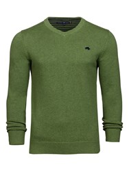 Raging Bull Men's Big And Tall V Neck Cottcash Sweater Green