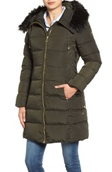 Guess Women's Faux Fur Trim Hooded Lace Up Detail Quilted Coat Olive