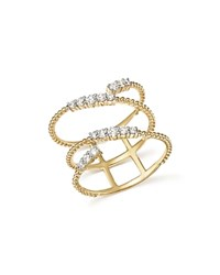 Bloomingdale's Diamond Beaded Swirl Ring In 14K Yellow Gold .45 Ct. T.W. 100 Exclusive White Yellow