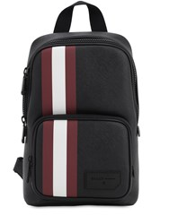 Bally Logo Stripe Faux Leather Backpack Black