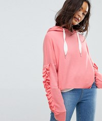 Only Ruffle Sleeve Hoodie Strawberry Ice Red