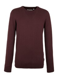 Ben Sherman Men's The Twill Texture Crew Neck Red