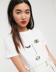 Soaked In Luxury Fac E T Shirt White