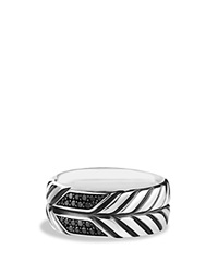 David Yurman Modern Chevron Band Ring With Black Diamonds Silver Black