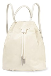 Halston Snake Effect Leather Backpack White