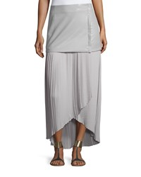 Bagatelle Faux Leather Layered Crepe Skirt Snow Cloud