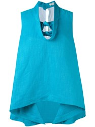 Delpozo Knot Detail Top Women Linen Flax Viscose 40 Blue