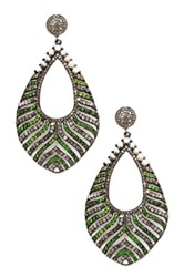 Lori Kassin Fine Jewelry Champagne Diamonds 1 2Mm Pearl And Chrome Diopside Drop Earrings 7.45 Ctw Green