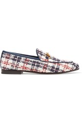 Gucci Jordaan Horsebit Detailed Leather Trimmed Tweed Loafers White Usd