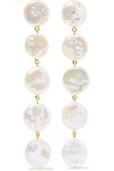 Chan Luu Gold Plated Pearl Earrings White