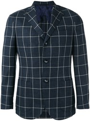 Barba Checked Blazer Blue