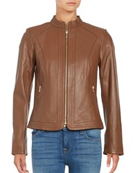 Cole Haan Trapunto Paneled Nappa Leather Jacket Whiskey