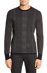 Men's Hugo 'Shainor' Trim Fit Cotton Silk And Cashmere Houndstooth Crewneck Sweater Dark Grey